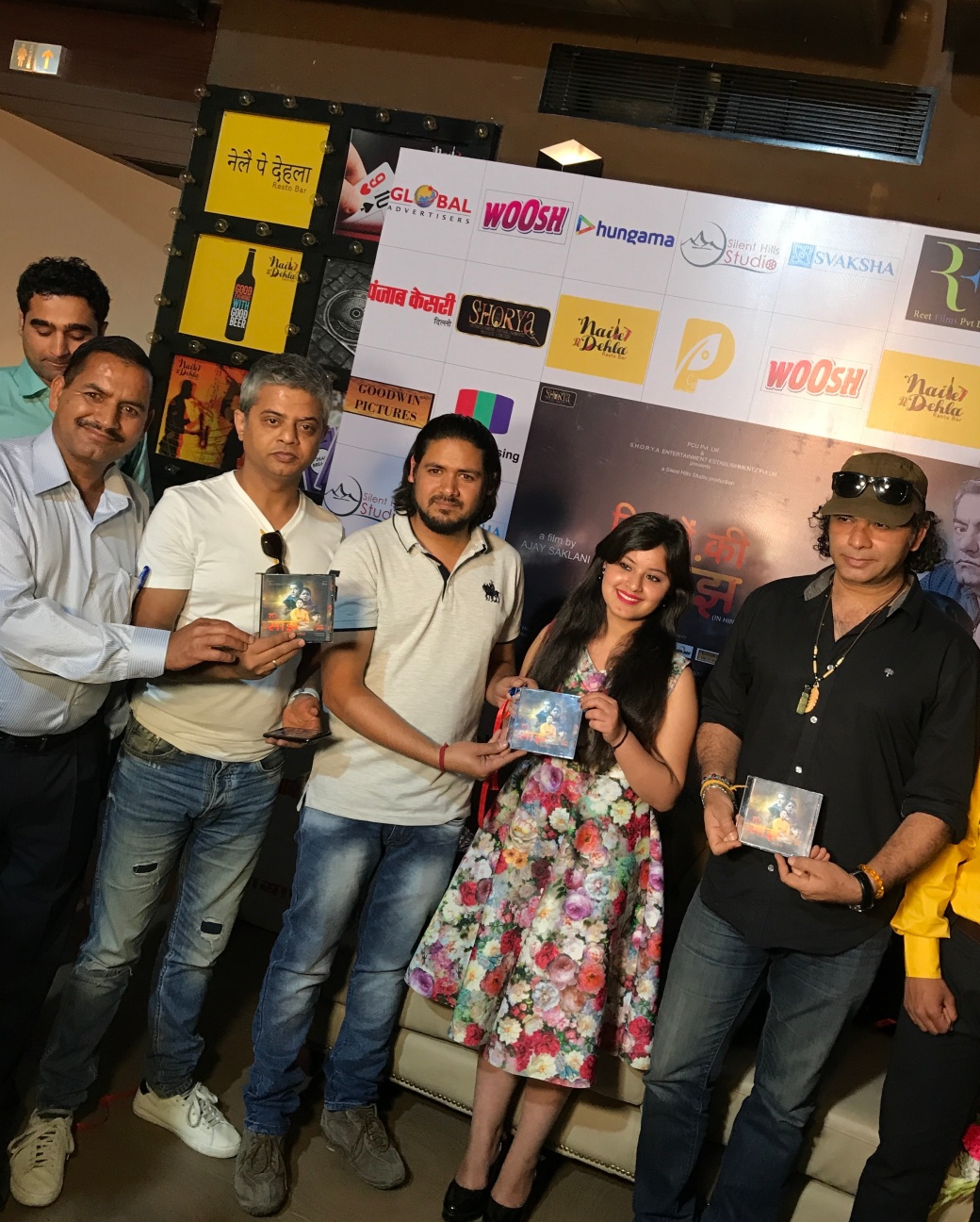 Anuj Bajpai, H R Saklani (father of Ajay Saklani), Ajay Saklani, Aditi Charak & Singer Mohit Chauhan at the Music Launch of film 'Saanjh - Rishto ki Saanjh' in Delhi