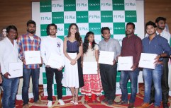 The gorgeous Tollywood celeb Ms Pragya Jaiswal with customers who pre-booked the Selfie Expert OPPO F3 Plus, after unveiling the device on Saturday at Lemon Tree Hotel, Hi-Tech city.
